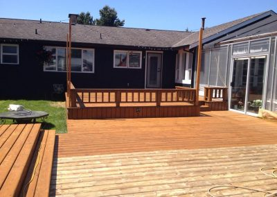 Wood Deck painting before and after